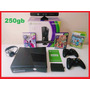 Xbox 360 250gb  2 Controles Kinect  3 Jogos + Headset + Live