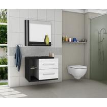 Gabinete/armário Banheiro Com Espelheira Milão Branco/fresno