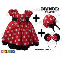 Vestido De Festa Minnie + Tiara + Brinde Chapéu Minie