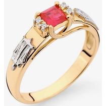 Anel Formatura Ouro 18k, Direito, Rubi Natural E Diamantes