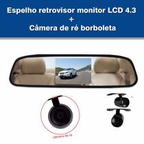 Espelho Retrovisor Monitor Lcd 4.3+câmera Ré - Frete Grátis