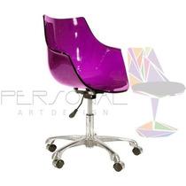 Cadeira Acrílica Wave Office - Loja Vivo Roxa/púrpura