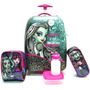 Kit Mala Malinha Escolar Infantil Monster High Rodinhas G Original