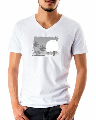 Camiseta Sup Luar Algodão Alta Qualidade Camisa Gola V Top 748e9bc2c0d36