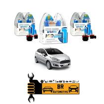 Kit Lâmpadas Super Brancas Farol + Milha Ford New Fiesta