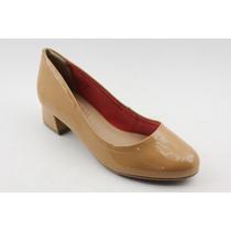 Sapato Feminino Ramarim Salto Baixo Quadrado Bege 583920
