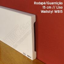 Rodapé Poliestireno 15cm | Branco | Gart Wb15 | Barra 2,44mt