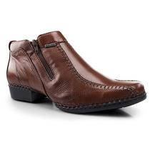 Botina Sapato Masculino Social Conforto Antistress Couro