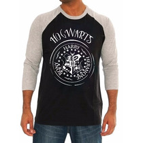 Camiseta Hogwarts Raglan 3/4 Camisa Harry Potter