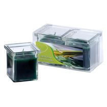 Kit Com 2 Velas Em Vidro Aromatizadas - Capim Limão