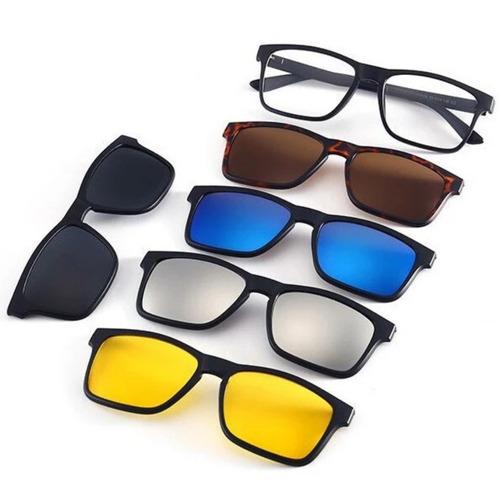 752ff2c10 Armação De Óculos P/ Grau Clip On 6 Em 1 Polarizado E Uv400