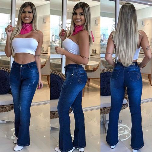 871f53737 Calça Jeans Feminina Flare Boca Sino Levanta Bumbum Alta. R$ 119.99