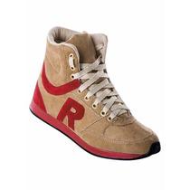 Tênis Sneaker Bege Com Vermelho - Preço De Fábrica!