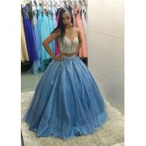 0b6d94a1422 Vestido De Debutante Azul E Prata 2 Em 1 (festa De 15 Anos) à venda ...