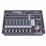 Mesa De Som 8 Canais Starmix Usfx802r Com Bluetooth E Efeito