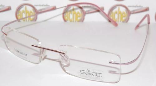 Armação Oculos De Grau Silhouette Sem Aro Titanium Feminina 06509130e7