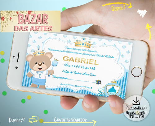 Convite Chá De Bebê Fralda Arte Digital Ursinho Principe R 6 En