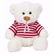 Urso Ursinho De Pelúcia Candy Branco Buba Toys C/ Capuz