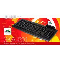 Teclado Ska-291 Abnt2 Com Leitor Smart Card E Apoio - Novo
