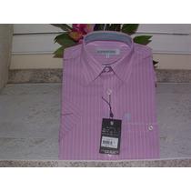 Camisa Social Masc. M. Curta Tam 1 Cor Salmon 100 % Alg