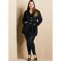 Casaco Veludo Cotelê Sobretudo Blazer Plus Size Inverno