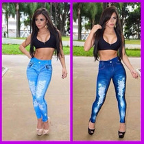 Calça Legging Jeans Feminina Sublimada