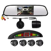 Kit Sensor Estacionamento Câmera Ré Espelho Retrovisor Lcd