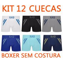 Kit 12 Cuecas Boxer Poliamida Sem Costura Frete Gratis