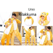 Pijama Adulto Macacão Urso Ursinho Rilakkuma Com Capuz