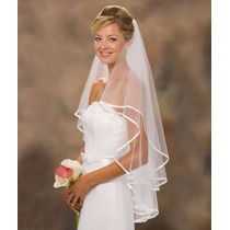 Lindo Véu De Noiva Com Borda 2 Camadas Casamento Branco