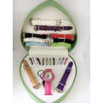 Kit Relógio Feminino Troca Pulseiras 10 Pulseiras/10aros