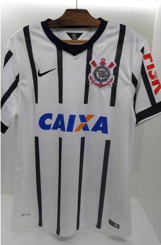 cfe6b02fe82c4 Camisa Nike Corinthians Branca Listrada I 2014 Caixa Fisk. R$ 499