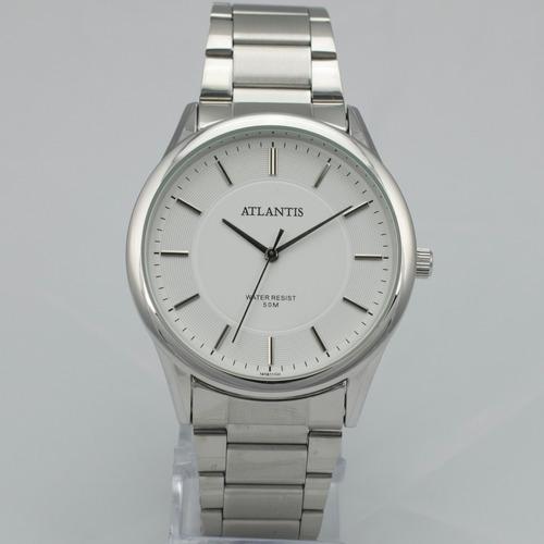f44951b8c95 Relógio Masculino Atlantis Original Prata Aço Elite Luxo