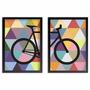 Conjunto Kit Quadros Poster Bike Colorida Bicicleta Abstrata