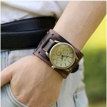 Relógio Analógico Bracelete Estrela Pulseira Larga Em Couro
