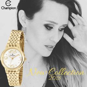 0c34d4f3c22 Relógio Feminino Champion Dourado Pequeno Original Ch24919h em ...