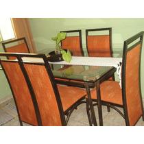 Sala De Jantar Completa 6 Cadeiras Aço Escovado Vidro Bisotê