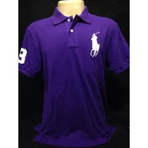Camiseta Polo Ralph Lauren Roxa Big Poney Branco Tam Ggg