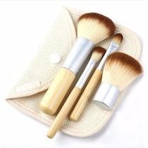 Kit Pincel Para Maquiagem + Necessaire 4pçs Fibra De Bambu