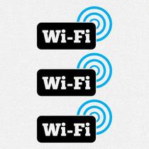 ac5a15a93 Kit 3x Adesivos Wifi Zone Rede Sem Fio Wireless 16cm A610