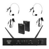 Microfone Sem Fio Duplo Lapela + Auricular Amw Bv12 Vhf 110v