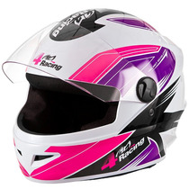 Capacete 4 Racing Pink/lilás Feminino C/ Viseira Cromada 56