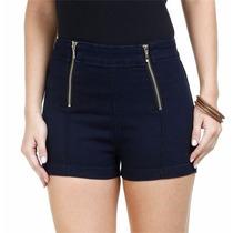 Short Feminino Em Jeans Hot Pants Com Zíperes