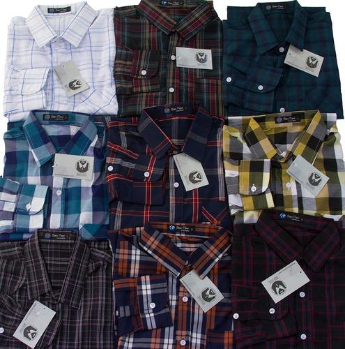 Kit 5 Camisas Manga Longa Sociais Xadrez Atacado Fit Oferta - R  210 ... 5d05ee0288550