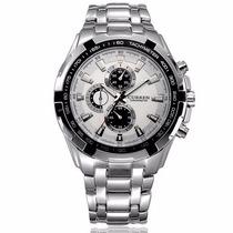 Relógio Curren Original Pulseira Inox Silver Luxo Clássico