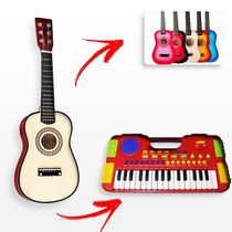 Kit Infantil Mini Teclado + Mini Violão