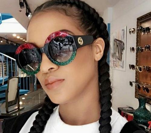 d7b87f541 Óculos De Sol Lente Escura Feminino Redondo Grande Tendencia. R$ 39.63