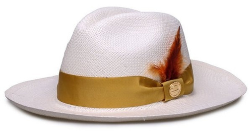 4cb000973c088 Chapéu Panamá Original Faixa Dourada Penas Coloridas  . R  289.9