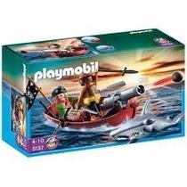 5137 Playmobil Piratas Piratas Com Barco A Remo E Tubarão...