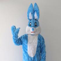 Mascote De Coelho Da Páscoa Azul E Branco / Fantasia Coelho